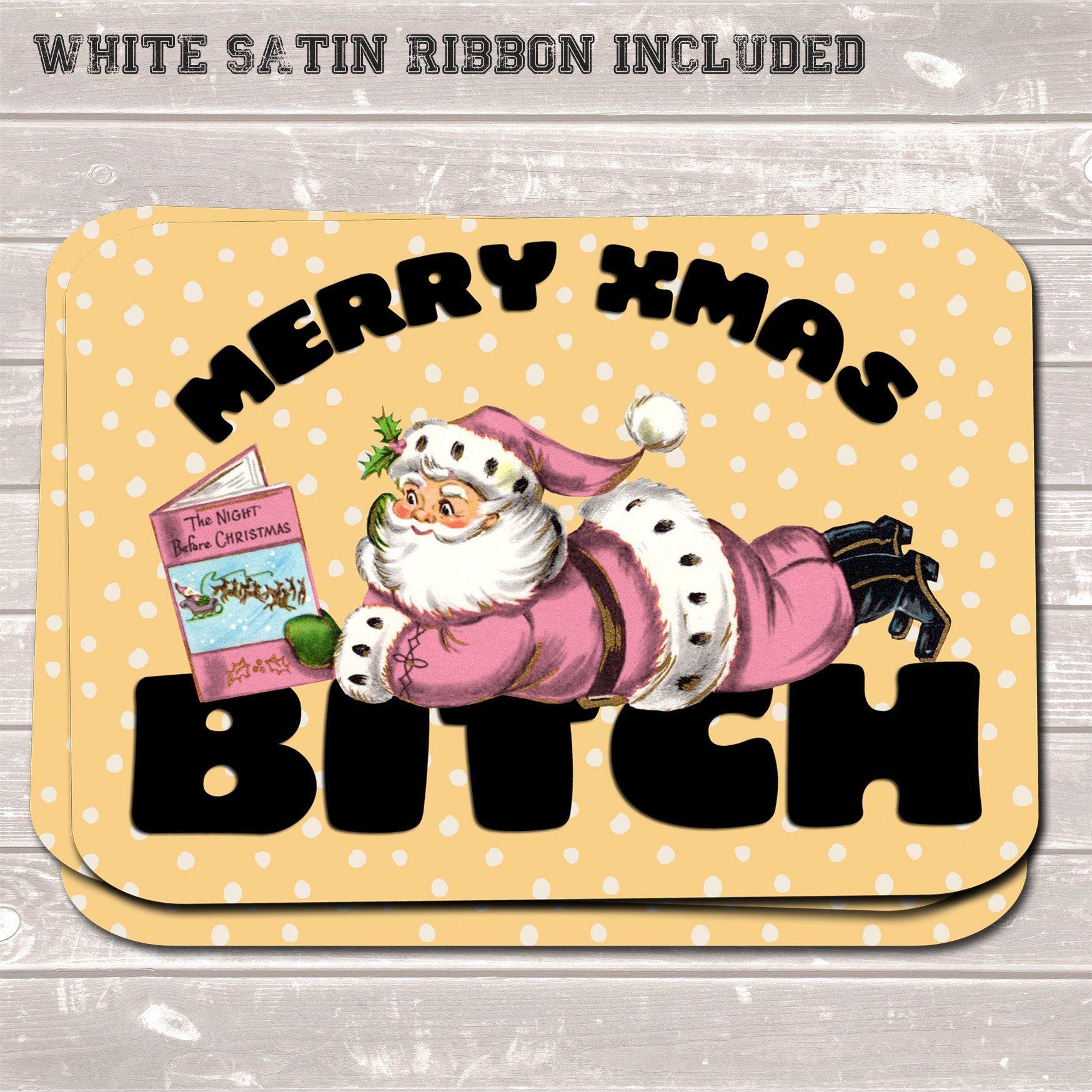 Rude Christmas Gift Tags, Merry Xmas Bitch, Present Accessories (Pack of 8)