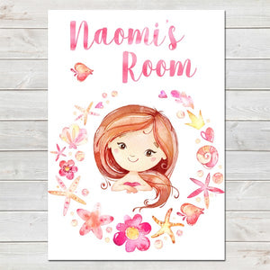 Mermaid Personalised Watercolour Name Print/Kids Room Decor A4