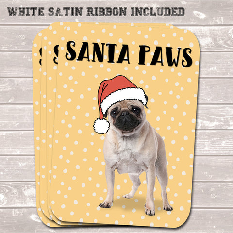 Christmas Gift Tags, Santa Paws, Funny Present Accessories (Pack of 8)