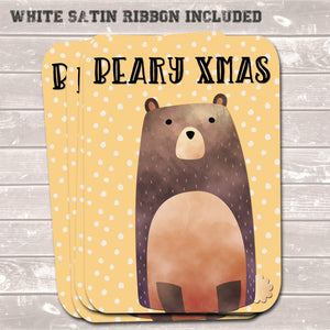 Christmas Gift Tags, Beary Xmas Yellow Present Accessories (Pack of 8)