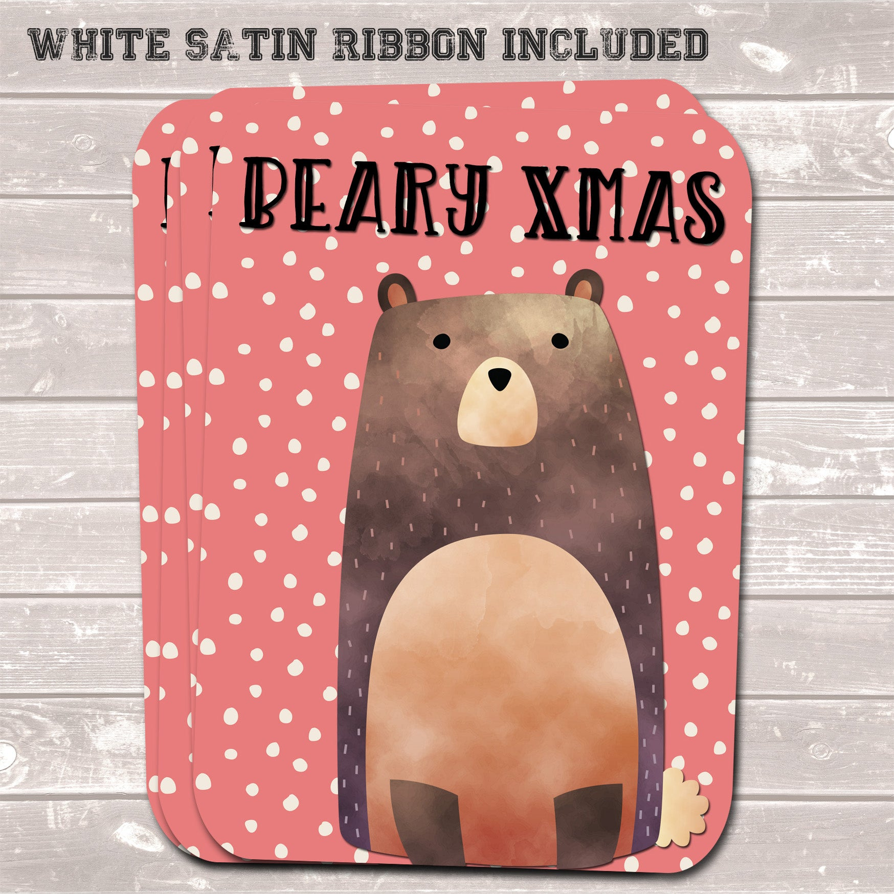 Christmas Gift Tags, Beary Xmas Coral Present Accessories (Pack of 8)