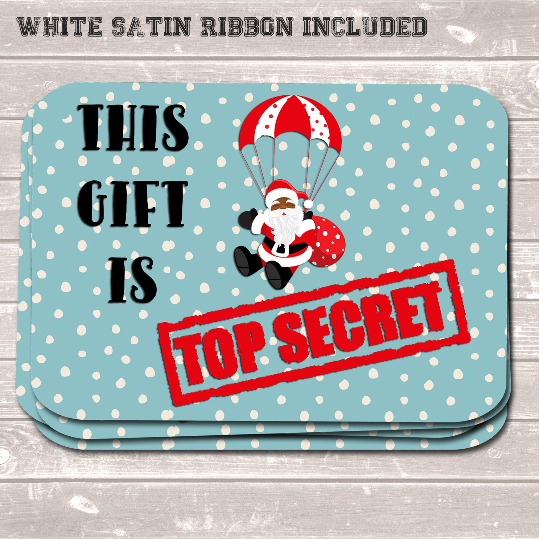 Christmas Gift Tags, This Gift is Top Secret, Funny Present Accessories (Pack of 8)