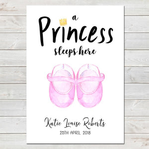 Baby Shoes Personalised Newborn Print/Baby Shower Nursery Decor
