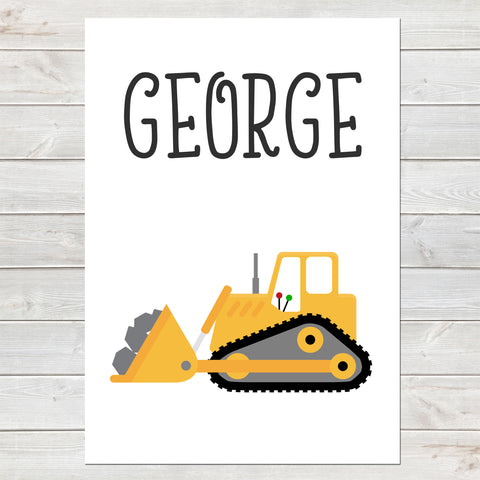 Bulldozer, Personalised Construction Print, Kids Name Bedroom Decor
