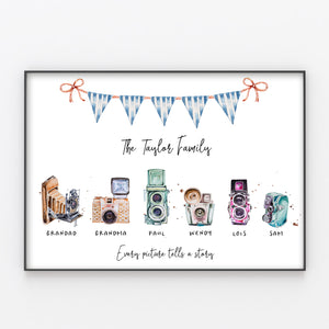 Retro Camera Family Print, Wall Art Gift for Home Personalised in A3 or A4, Frame Available
