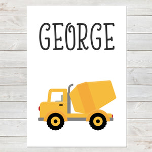 Cement Truck, Personalised Construction Print, Kids Name Bedroom Decor A4 or A3