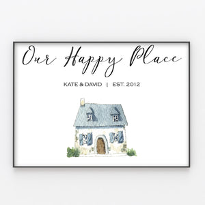 Family Home House Print, Custom Quote, Personalised Wall Art Gift A4 or A3