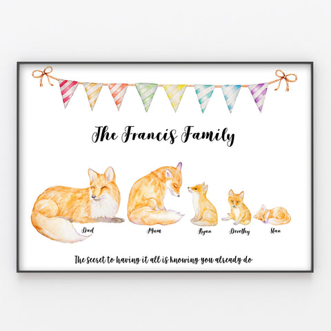 Fox Family Print, Wall Art Gift for Home Personalised Foxes