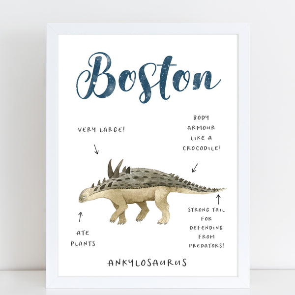 Dinosaur Name Print, Fun Informative Bedroom Print for Kids, Personalised Gift