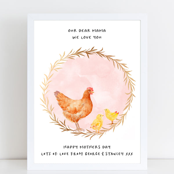 Dear Mama Cute Chickens, Mummy & Baby Print, Mother's Day Gift