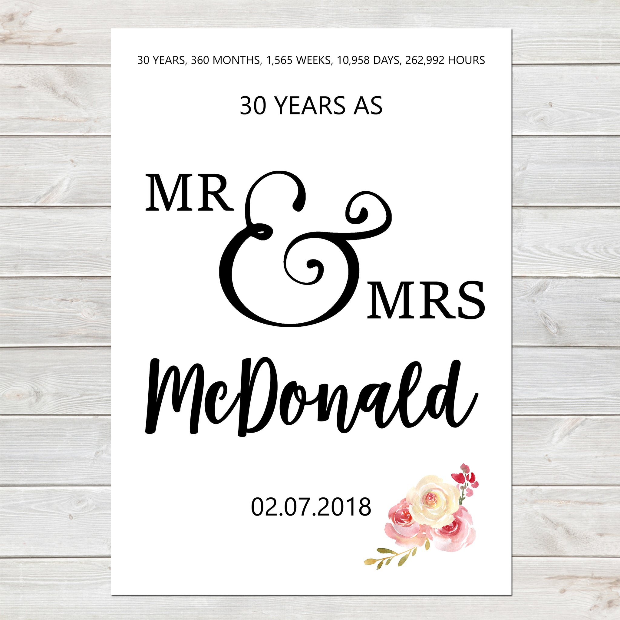 Anniversary Days Months Years Print Personalised Wall Art Gift A4 or A3