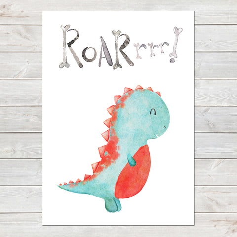 Dinosaur Roar! Print, Cute Bedroom Print for Kids, Fun Gift A4 or A3