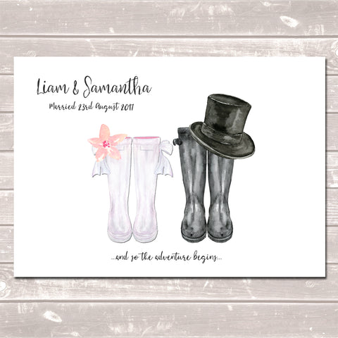 Personalised Wellington Boot Wedding Print Customised Rain Boot Wall Art Gift