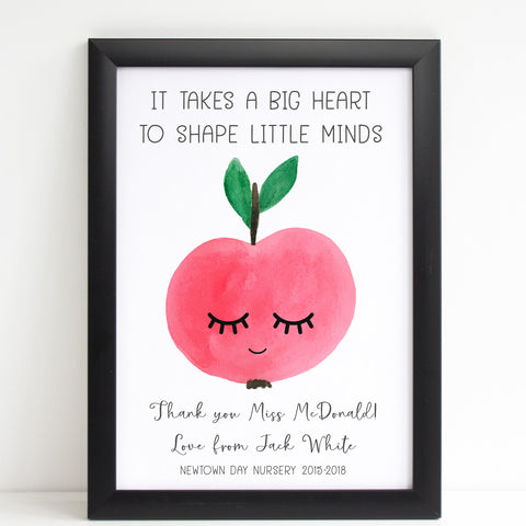 Teacher Apple Print, Thank You School Nursery Gift, Personalised Poster