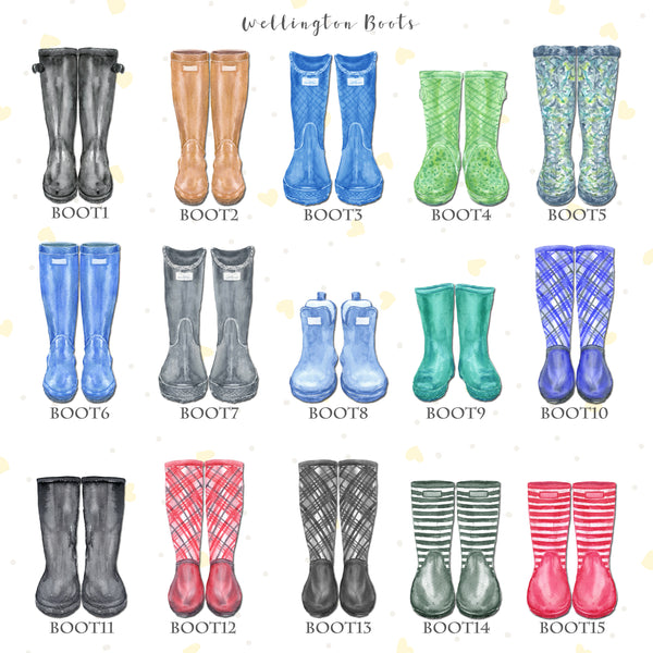 Personalised Wellington Boot Fathers Day Print, Customised Rain Boot Wall Art Gift, A4 or A3, Framed Available