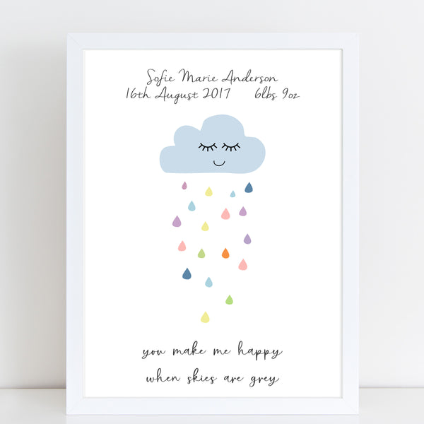 You Make Me Happy When Skies Are Grey Personalised Print/Kids Room Decor A4 or A3