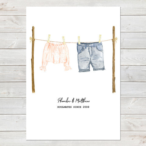 Anniversary/Wedding Personalised Print His Hers Clothing, Gift
