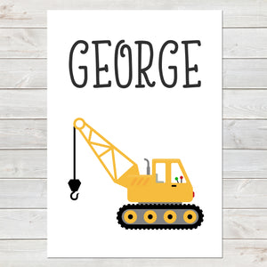 Crane, Personalised Construction Print, Kids Name Bedroom Decor