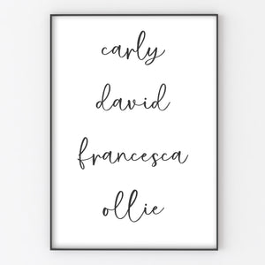 Family Names List, Personalised Home Print A4 or A3