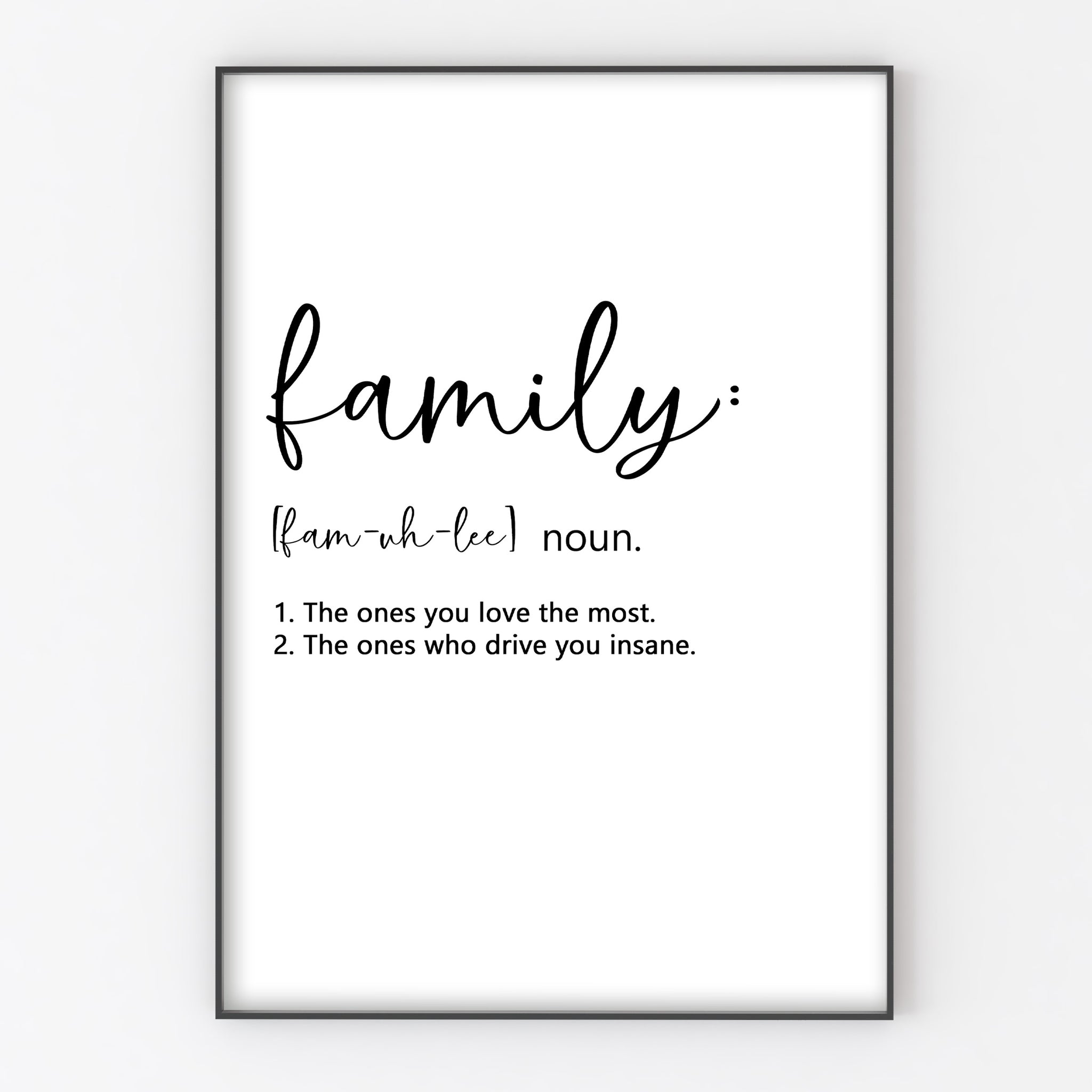 Personalised Family Print Customised Definition Wall Decor