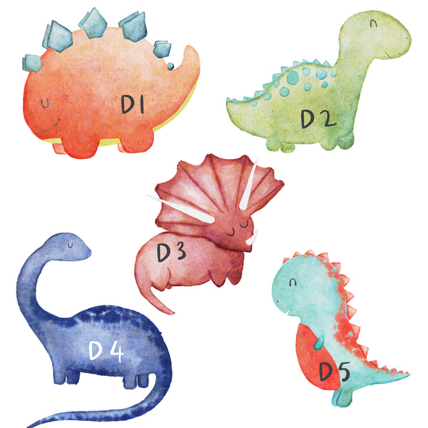 Dinosaur Name Print, Fun Watercolour Bedroom Print for Kids, Personalised Gift