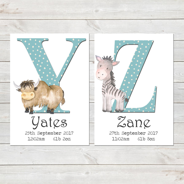 Boys Initial Personalised Print with Animal for Nursery Bedroom, New Baby Alphabet Gift
