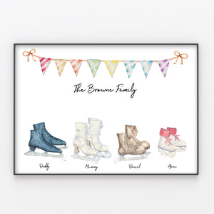 Ice Skates Family Print Personalised Figure Skating Wall Art Gift for Home A3 or A4