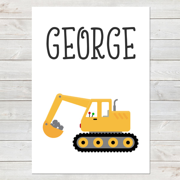 Digger, Personalised Construction Print, Kids Bedroom Decor