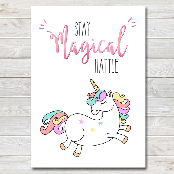 Stay Magical Kids Unicorn Bedroom Print / Personalised Nursery Decor