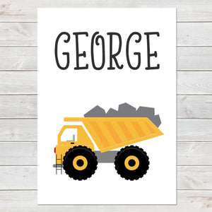 Dump Truck, Personalised Construction Print, Kids Name Bedroom Decor A4 or A3
