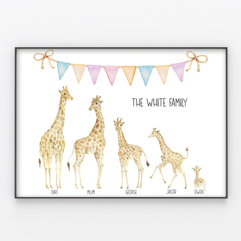 Giraffe Family Print, Wall Art Gift for Home, Personalised