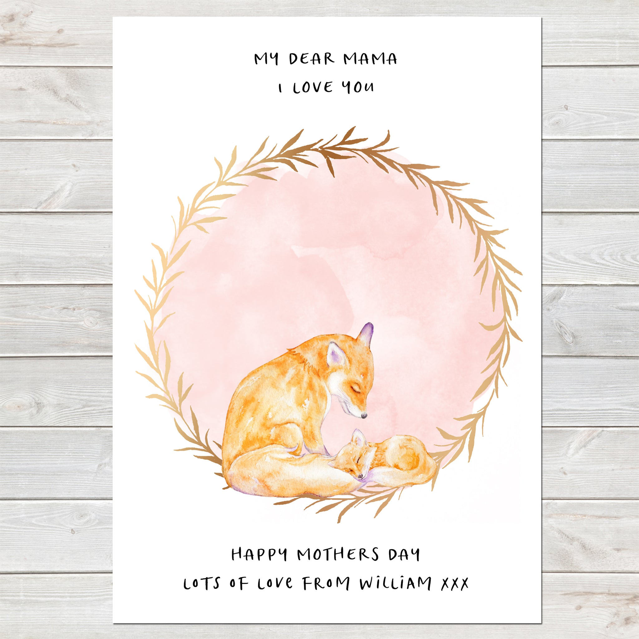 Dear Mama Cute Foxes, Mummy & Baby Print, Mother's Day Gift
