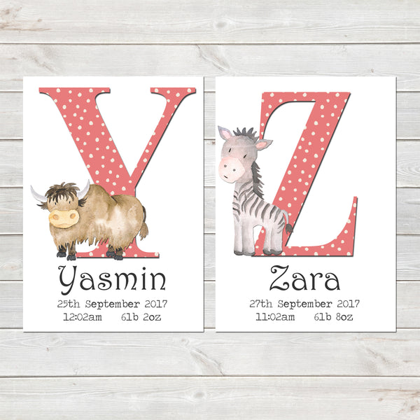 Girls Initial Personalised Print with Animal for Nursery Bedroom, New Baby Alphabet Gift