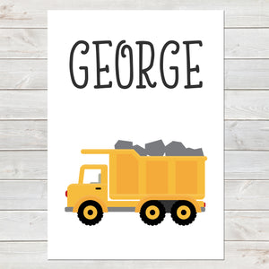 Truck, Personalised Construction Print, Kids Name Bedroom Decor