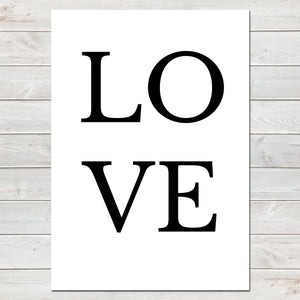 LOVE Bold Letters Valentines New Home Wall Decor / Gift / Print