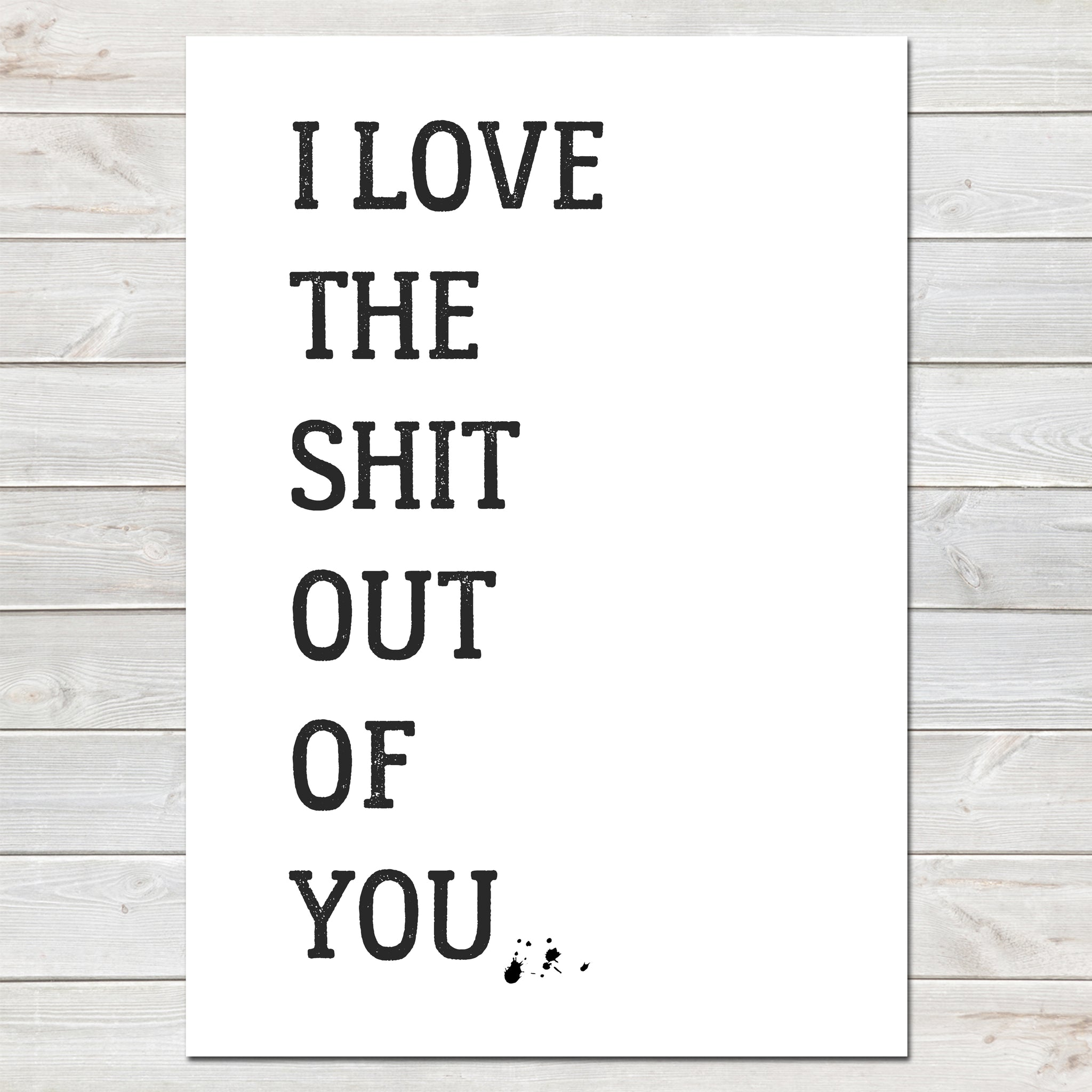 I Love the Shit Out of You Valentines New Home Wall Decor / Gift / Fun Print- A4