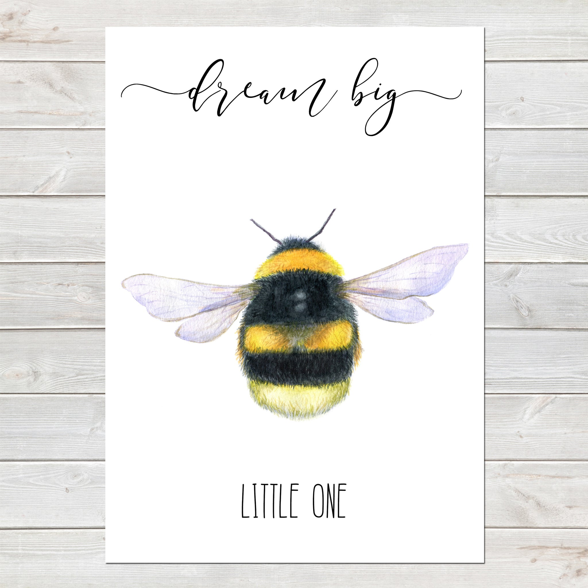 Dream Big Little One, Beautiful Bumblebee, Nursery Gift, Bedroom Bee Print