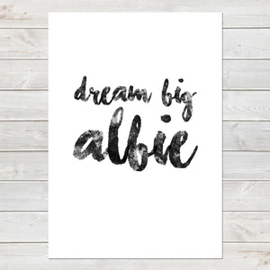 Dream Big Personalised Nursery Bedroom Name Print A4 or A3
