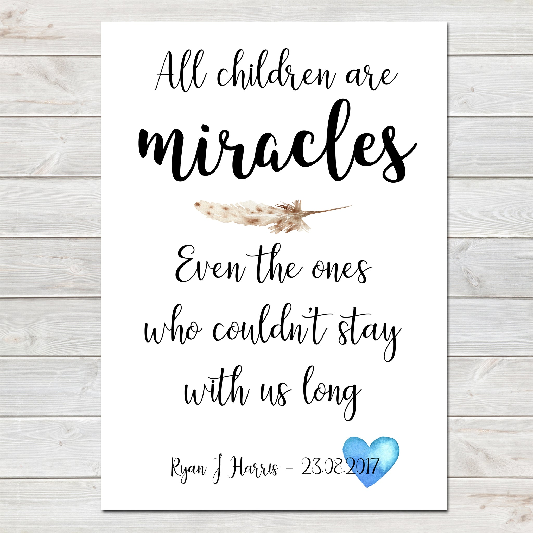 All Children Are Miracles, Baby Loss Remembrance Personalised Print A4 or A3