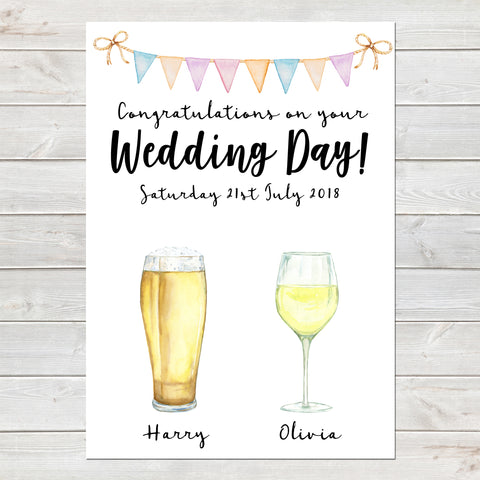 Drinks Personalised Print, Unique Wedding Day Gift A4 or A3