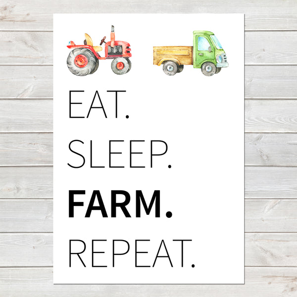 Tractor Bedroom Print, Eat Sleep Repeat/Personalised Farm Decor