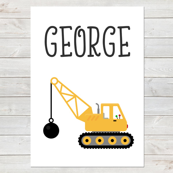 Crane with Wrecking Ball, Personalised Construction Print, Kids Name Bedroom Decor