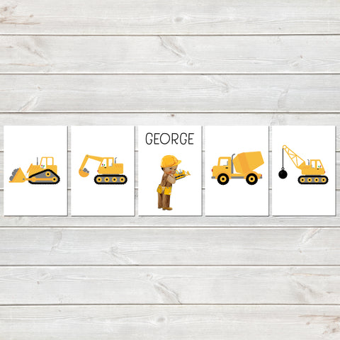Construction Print Set, Nursery/Kids Bedroom Personalised Posters, Digger Set of 5