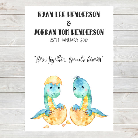Baby Dinosaur Twins Print, Cute Birth Announcement, Neutral Personalised Gift A4 or A3