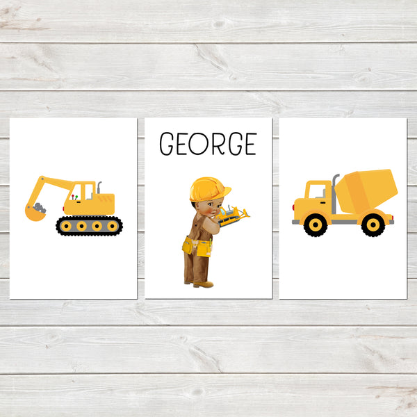 Construction Print Set, Nursery / Kids Bedroom Personalised Posters, Digger Set of 3
