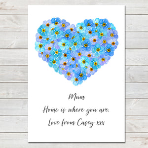 Mothers Day Print Floral Heart Personalised Poster Gift