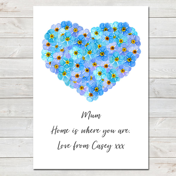 Mothers Day Print Floral Heart Personalised Poster Gift-A4