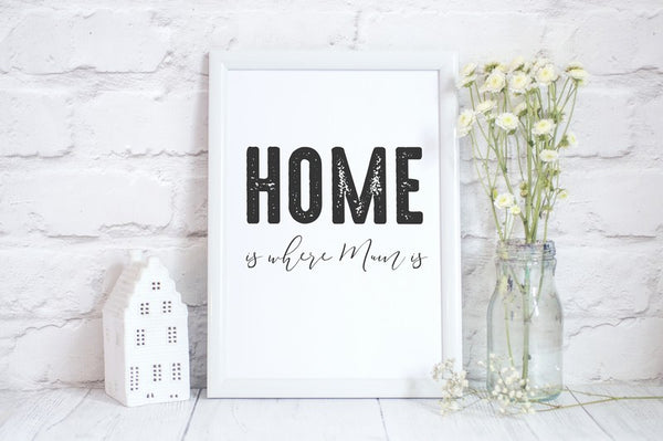 Mothers Day Print 'Home is Where Mum is' Poster