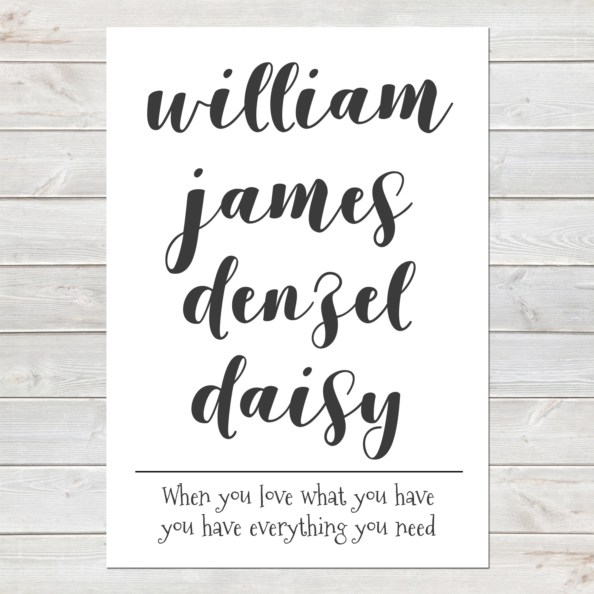 Personalised Kids Names List Children and Quote Print
