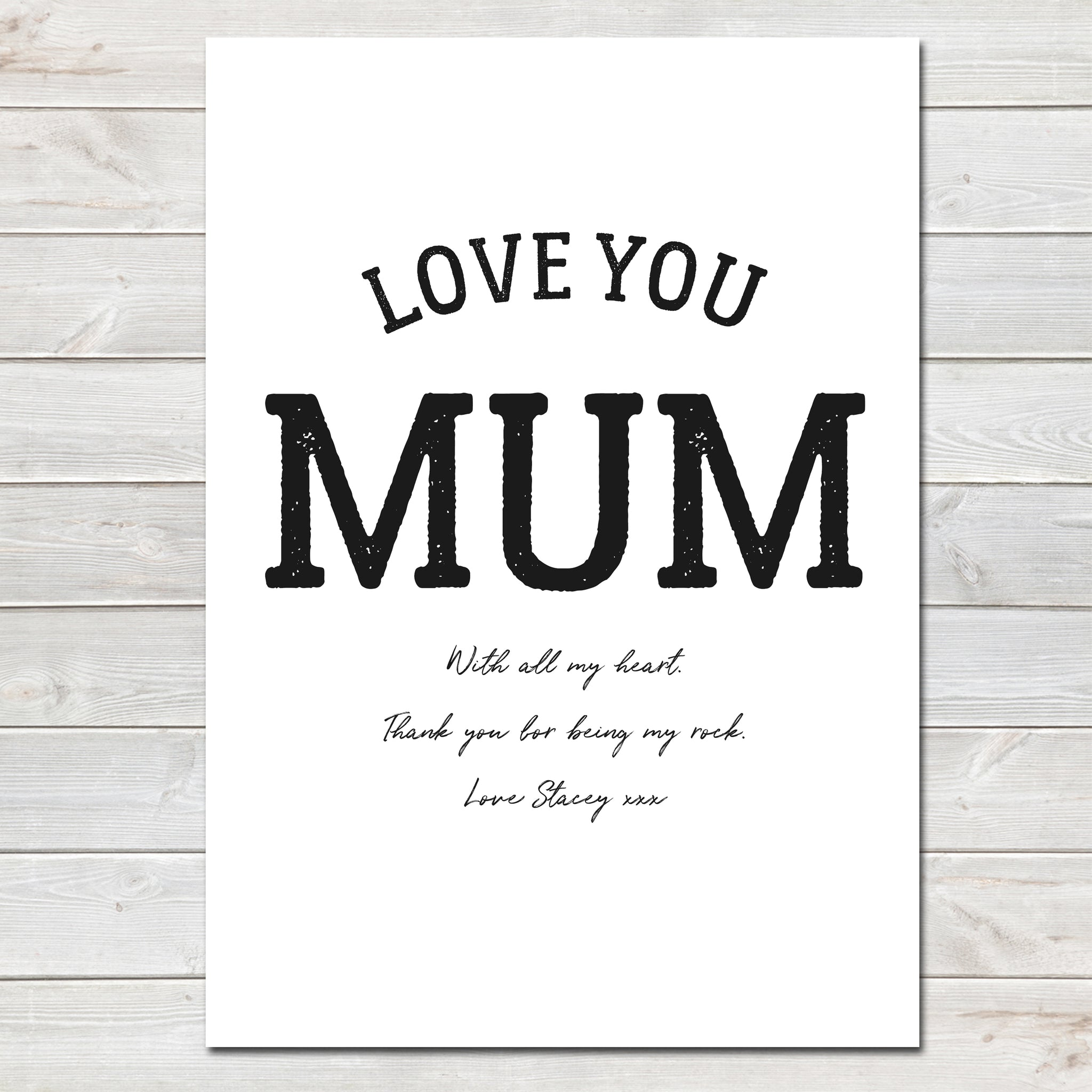 Mothers Day Print 'Love You Mum' Personalised Poster Gift for Mum- A4